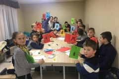 Children making cards